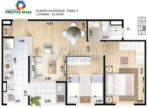 Conquista Prestes Maia de 02 dormitórios em Taboão, Diadema - SP