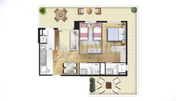 Stare de 02 dormitórios em Campestre, Santo André - SP