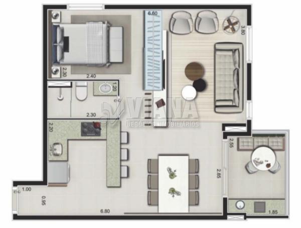 Unique Mbigucci de 01 dormitório em Rudge Ramos, São Bernardo Do Campo - SP