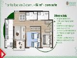 Planta 2 dormitorios 56 m²