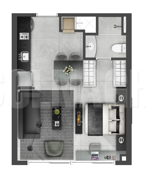 Hom Nilo Home de 1 dormitório em Jardim Europa, Porto Alegre - RS