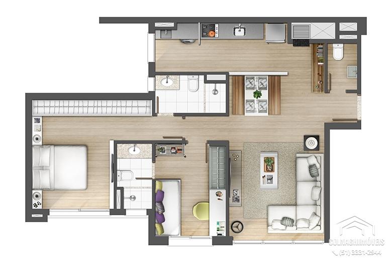 Axis Home de 2 dormitórios em Petropolis, Porto Alegre - RS