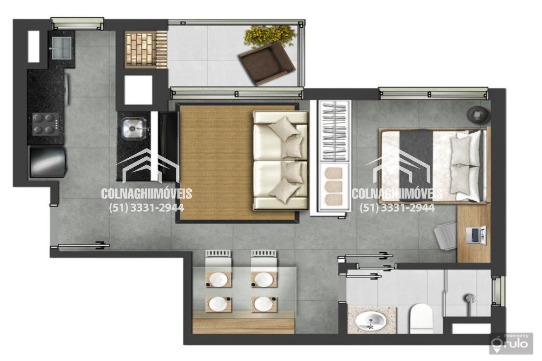 Montreal de 1 dormitório em Petropolis, Porto Alegre - RS