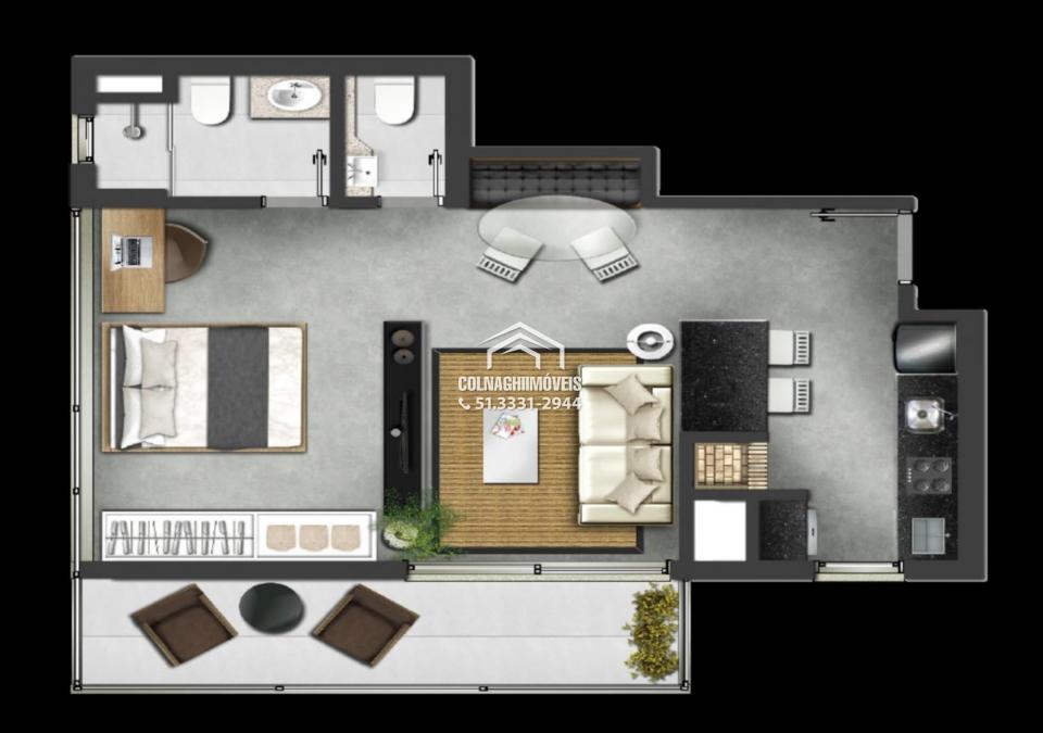 Apartamentos de 1 dormitório à venda em Petropolis, Porto Alegre - RS
