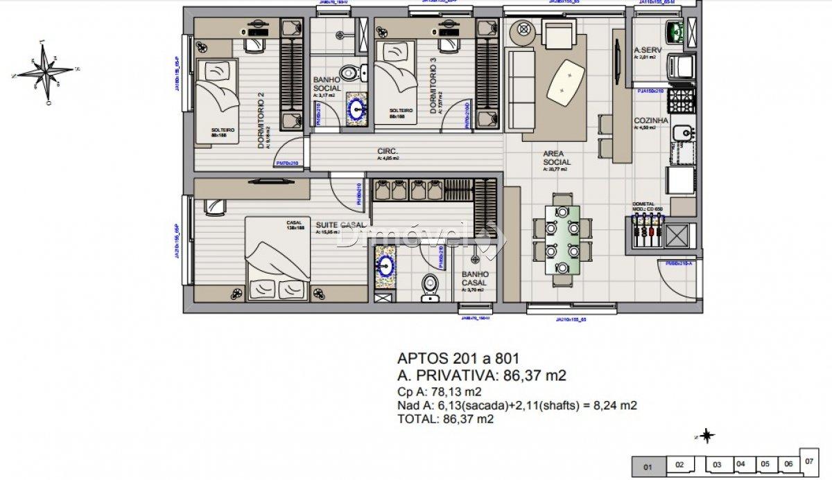 008 - Plantas Apartamentos 86,37m²