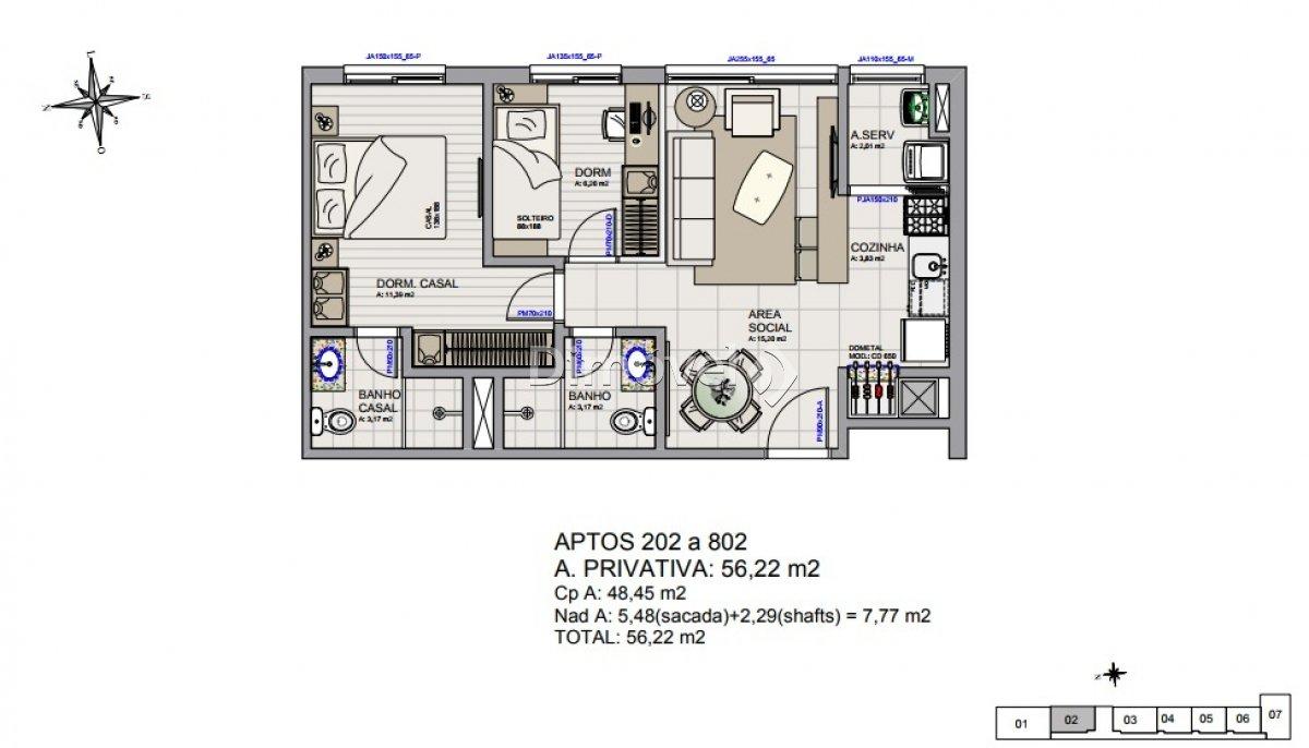006 - Plantas Apartamentos 56,22m²