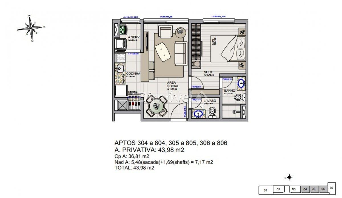 004 - Plantas Apartamentos 43,98m²