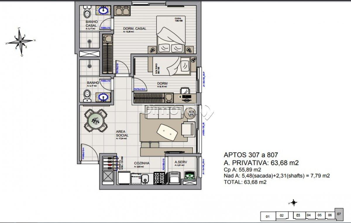 007 - Plantas Apartamentos 63,68m²