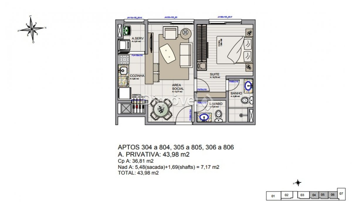 004 - Plantas Apartamentos 46,98m²