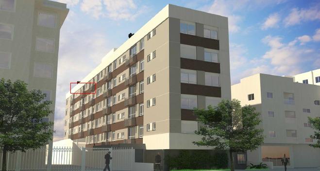 Apartamento  em construção de 01 Dormitório com Suíte, com 43,00 m de área privativa, no Bairro Menino Deus. Living, 01 Dormitório com Suite, 01  Banho Social, Cozinha e Àrea de Serviço e Garagem Escriturada. Ótima localização, próximo à Getúlio Vargas e Múcio Teixeira.
