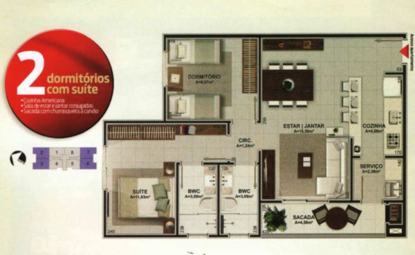 Apartamentos à venda em Barreiros, Sao Jose - SC