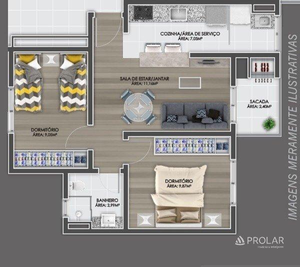 Apartamento em Caxias Do Sul   Residencial Lirio do  Vale