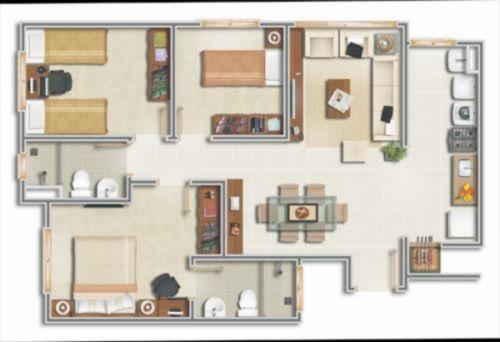 Apartamento de 3 dormit�rios com su�te, cozinha americana com churrasqueira, amplo living, espera para split no living e nos dormit�rios. (Clique para ver)