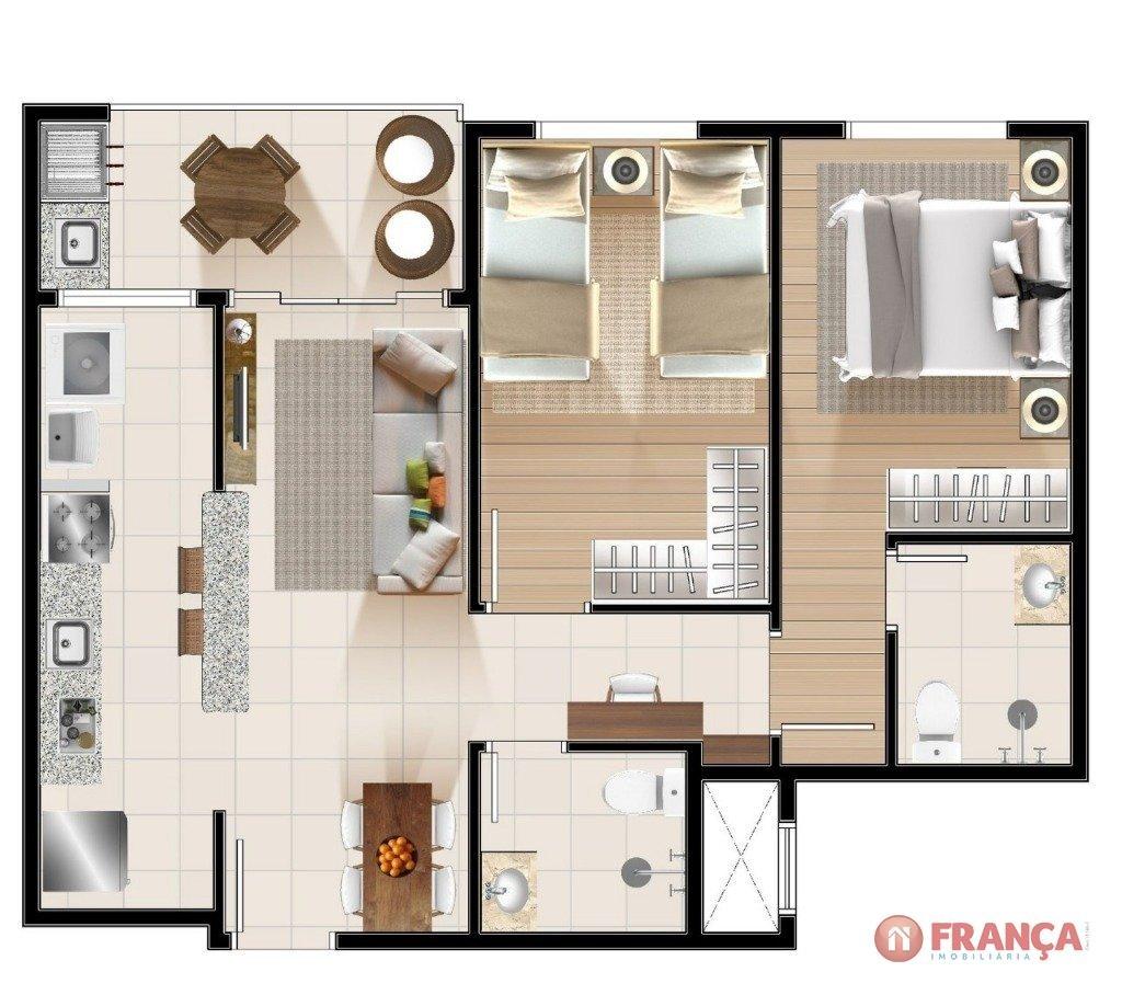 Planta de 2 Dormitórios com Suite