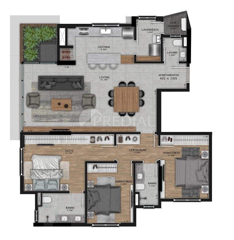 Casa Merlot Residencial - Planta da unidade 1713