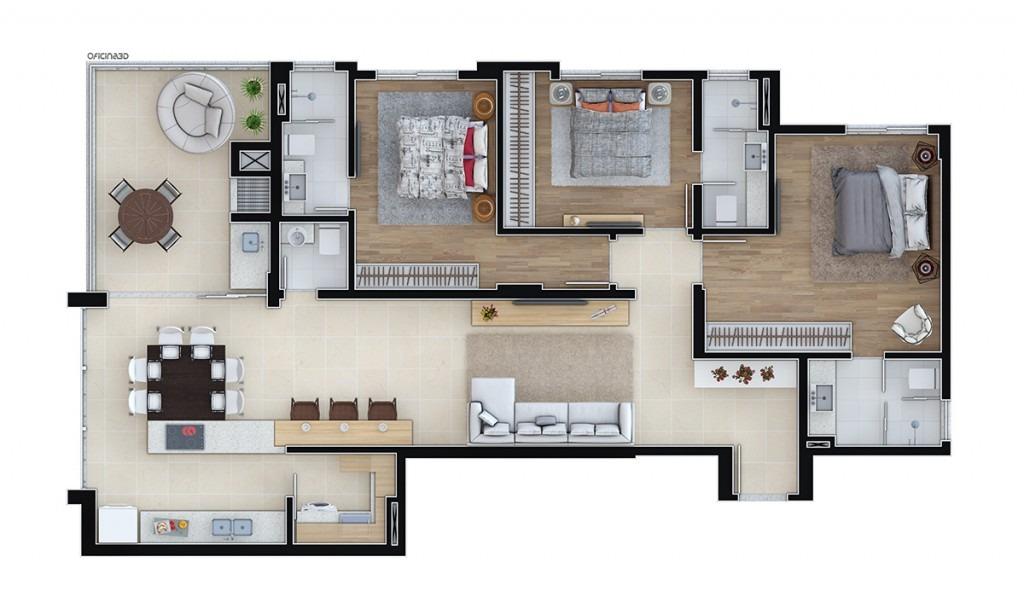 Planta do Apartamento Tipo 01 do Residencial Key West -Vetter