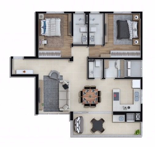 Apartamento Tipo 03 do Residencial Key West em Piçarras