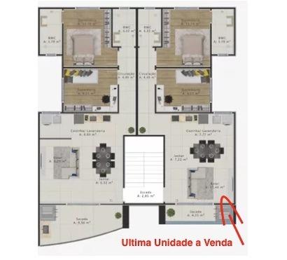 Apartamento tipo - Planta da unidade disponível em Piçarras