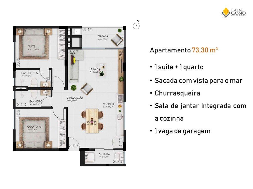 RESIDENCIAL N9 EM PIÇARRAS Apartamentos Quadra Mar - Planta da unidade 620