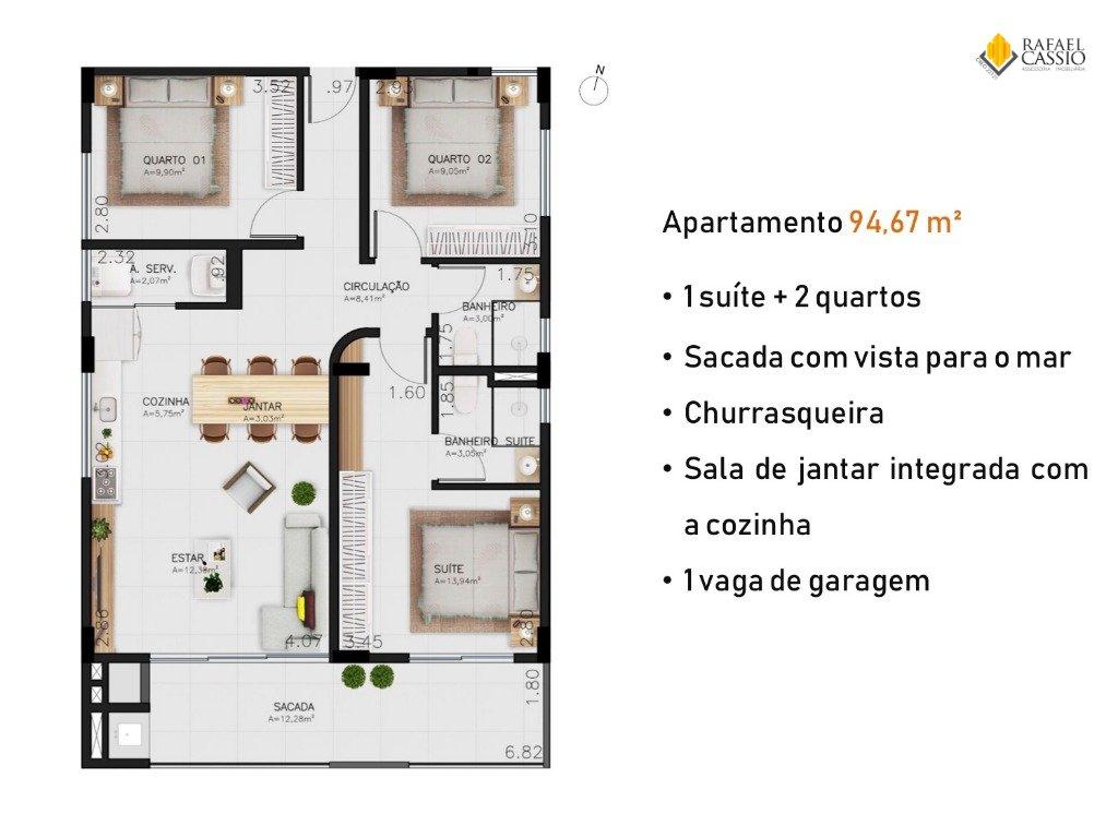 RESIDENCIAL N9 EM PIÇARRAS Apartamentos Quadra Mar - Planta da unidade 621