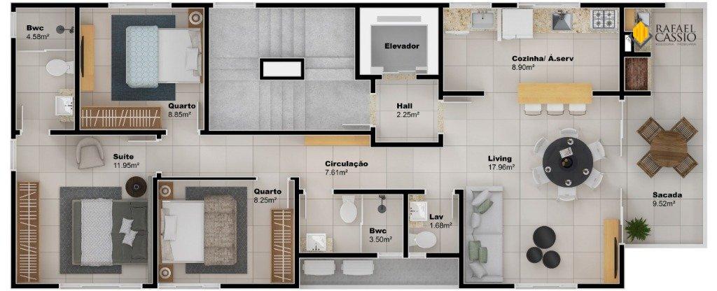 RESIDENCIAL FLORENCE Apartamentos em Piçarras - Planta da unidade 634