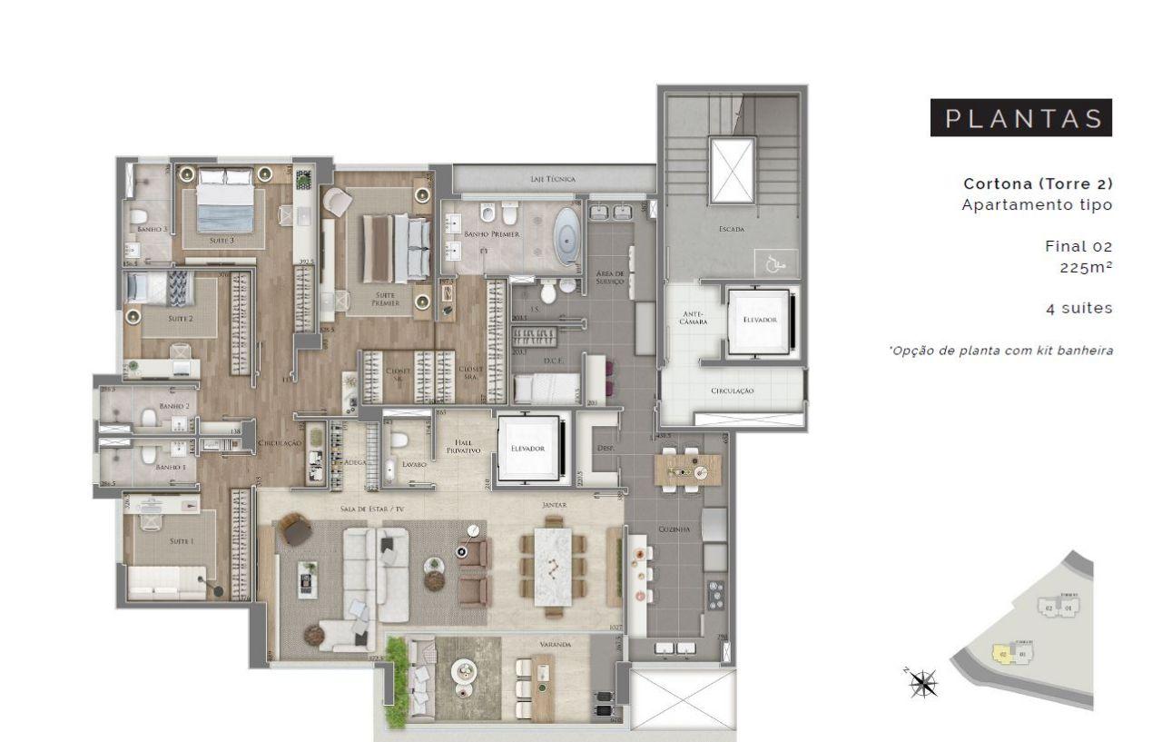 Apartamento de 231,83m²,  à venda