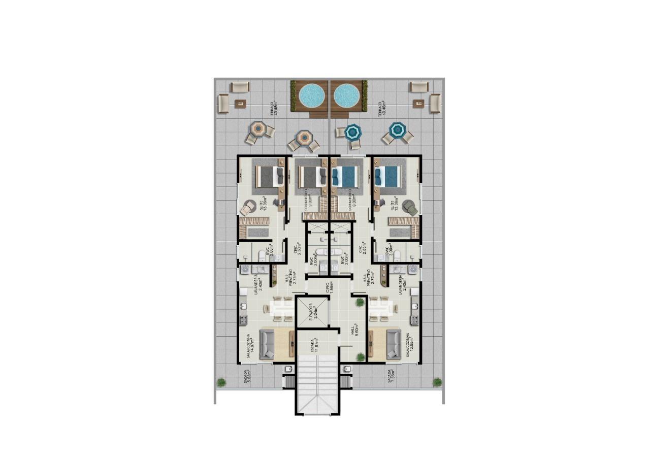 Apartamento de 131,84m²,  à venda