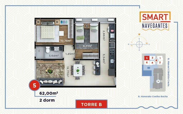 Apartamento de 62,46m²,  à venda