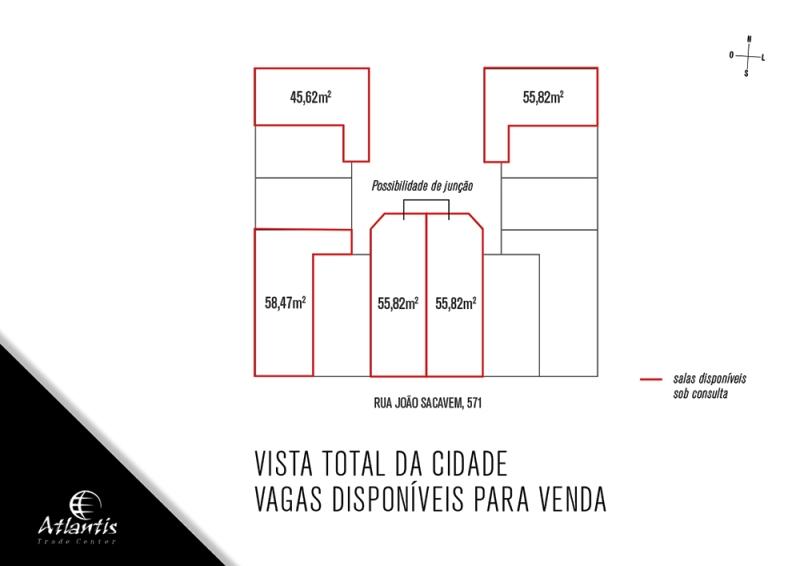 Sala de 55,82m²,  à venda