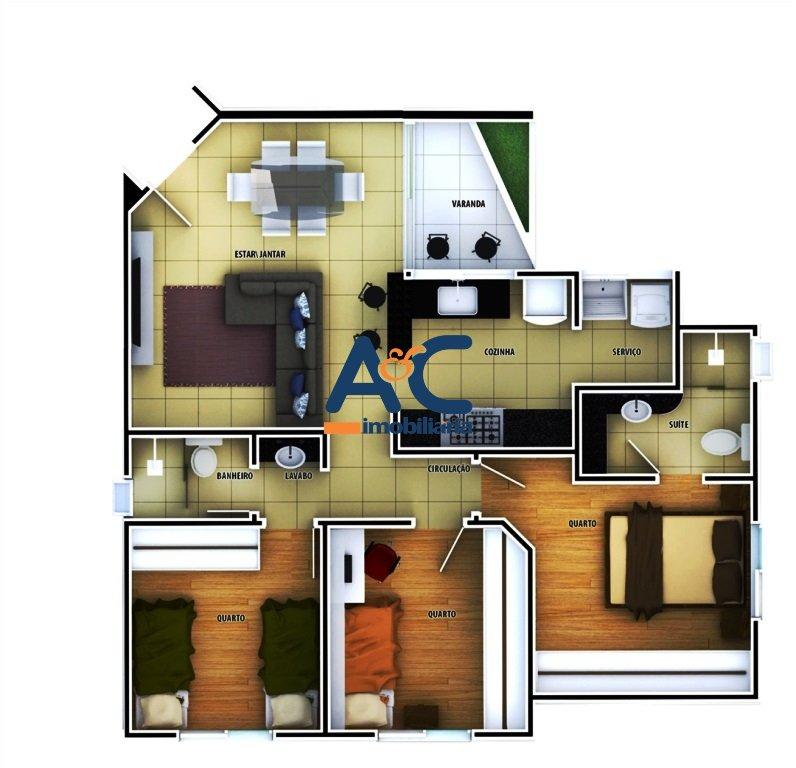 Área privativa de 92,97m²,  à venda