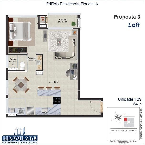Residencial Flor de Liz - Planta da unidade L014-109