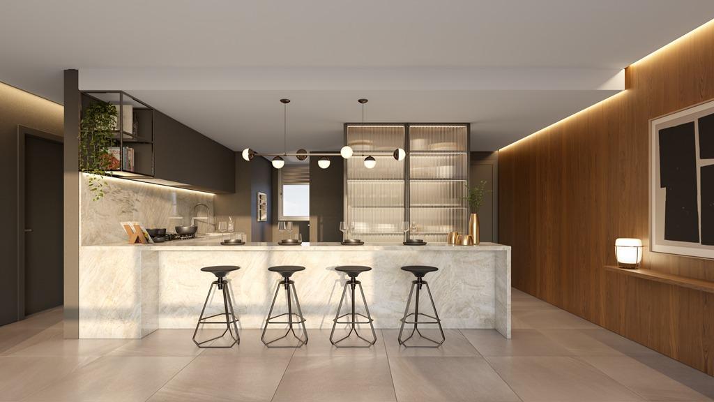 Cozinha apartamentos final 1A e 2A Torre II (imagem ilustrativa - mobiliário não incluído)