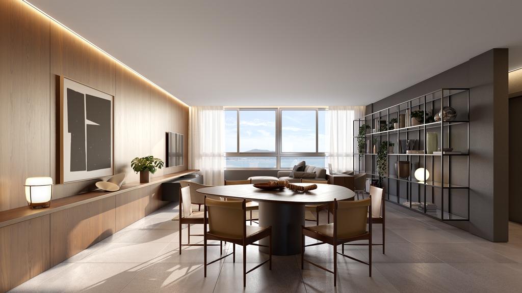 Estar/jantar apartamentos final 1A e 2A Torre II (imagem ilustrativa - mobiliário não incluído)