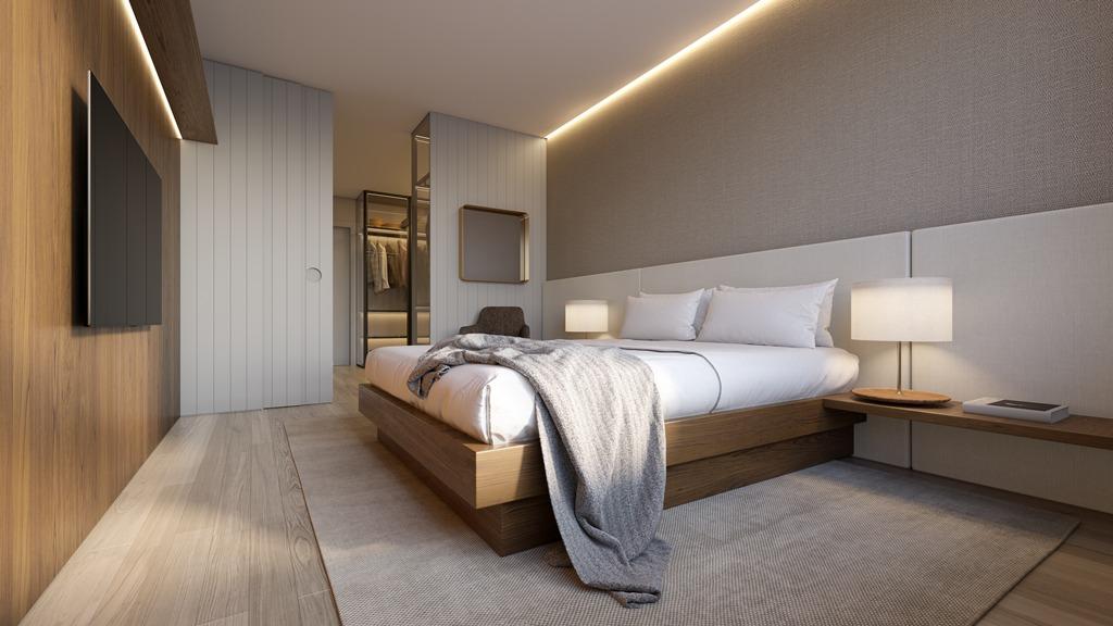 Suíte master apartamentos final 3B Torre I (imagem ilustrativa - mobiliário não incluído)