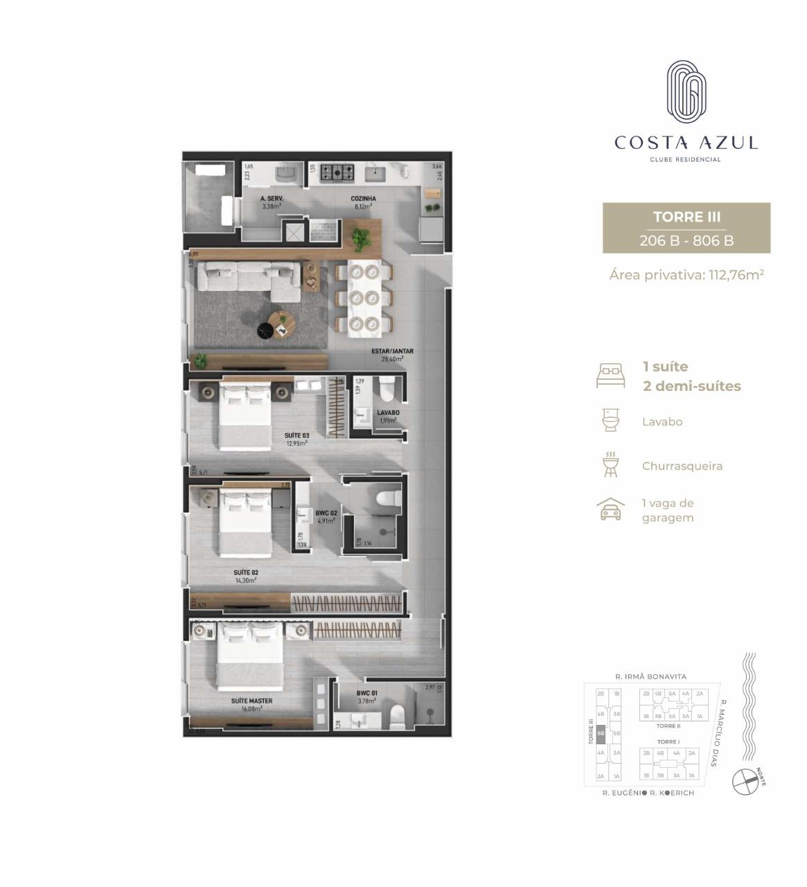 Planta humanizada final 06B Torre III - 3 dormitórios (imagem ilustrativa - mobiliário não incluído)