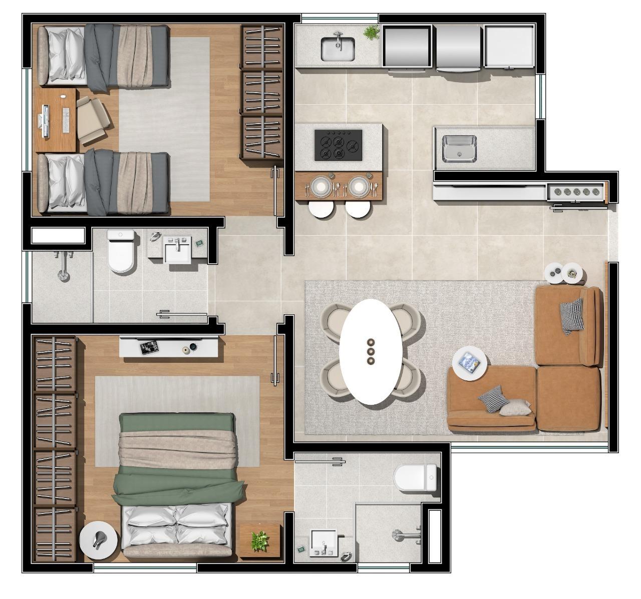 Apartamento de 57,54m²,  à venda