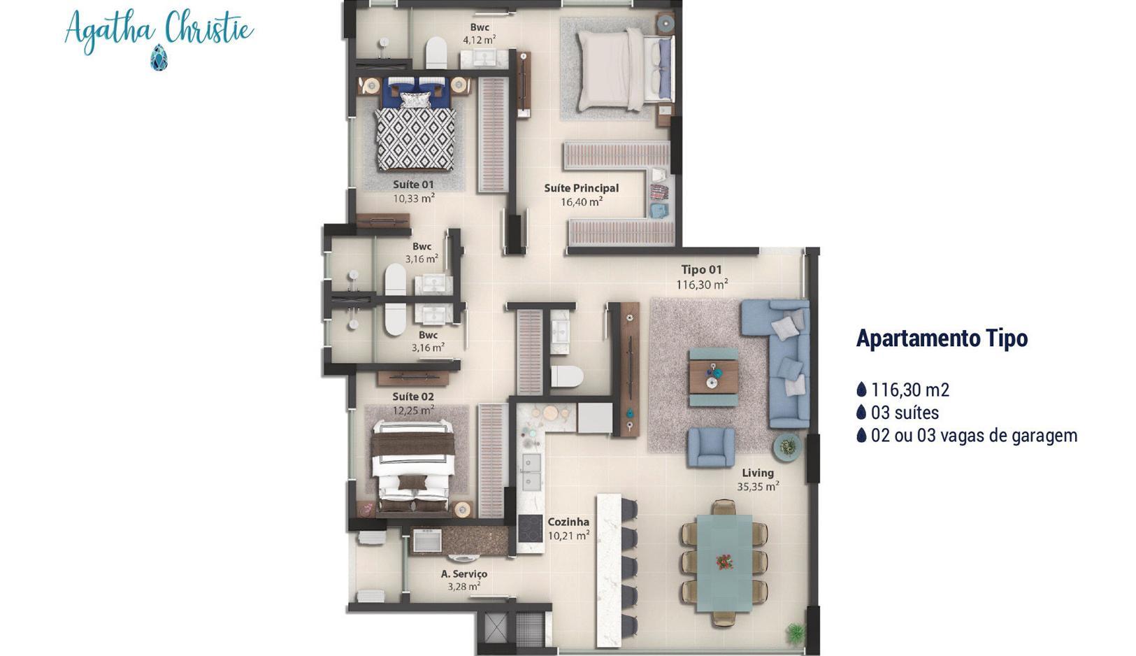 Apartamento no Agatha Christie em Balneário Camboriú