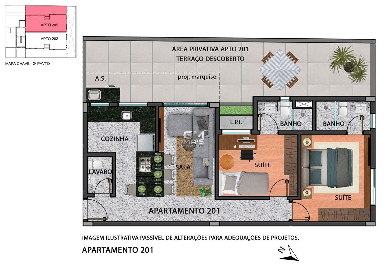 Área privativa de 84,19m²,  à venda