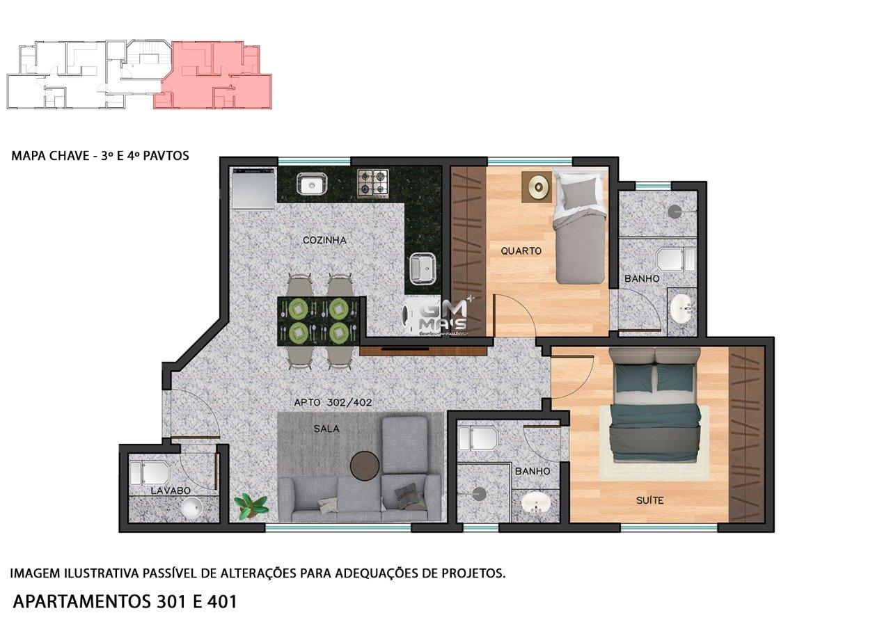 Apartamento de 53,42m²,  à venda