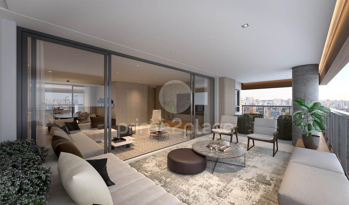 Perspectiva ilustrada do terraço do apartamento