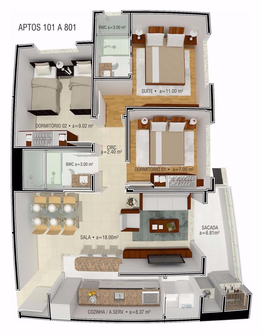 Apartamentos de 3 dormitórios à venda em Estreito, Florianópolis - SC