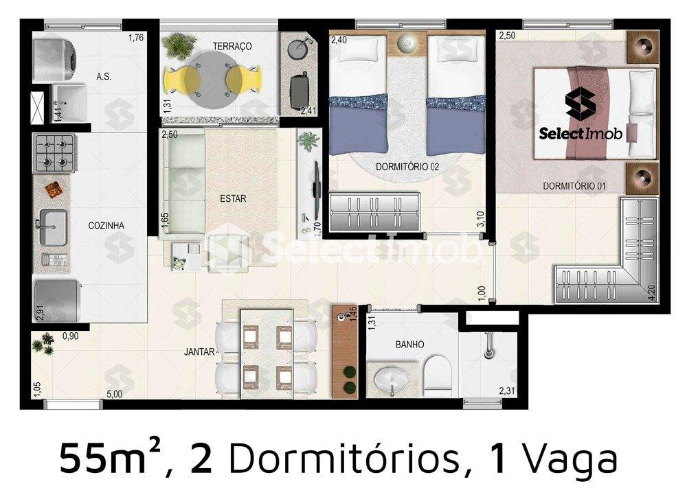 Condomínio das Seringueiras - Planta da unidade 294
